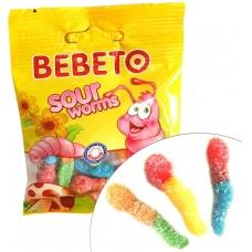 BEBETO Sour Worms rūgštūs sliekeliai, 24x18 g