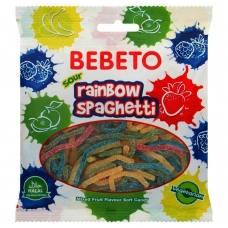 BEBETO Spaghetti įvairiaspalviai, rūgštūs, 80 g