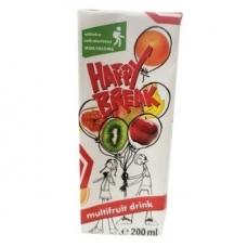 Happy Break sulčių gėrimas, įvairių vaisių, 200 ml