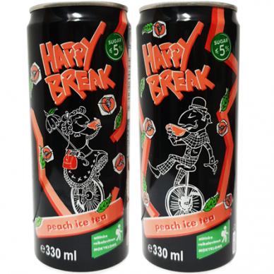 Happy Break persikų ir juodos arbatos skonio gėrimas, 330 ml